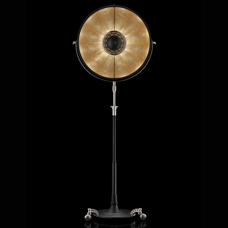 ATELIER63 Floor lamp with black stand and gold leaf interior, venetia studium, fortuny lighting