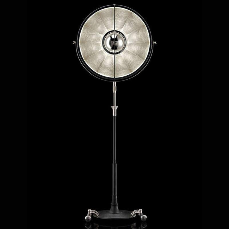 ATELIER63 floor lamp with black stand and silver leaf interior, venetia studium, fortuny lighting