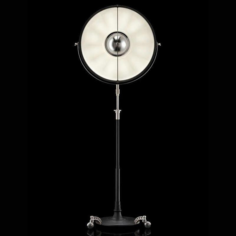 ATELIER63 floor lamp with black stand and white interior, venetia studium, fortuny lighting