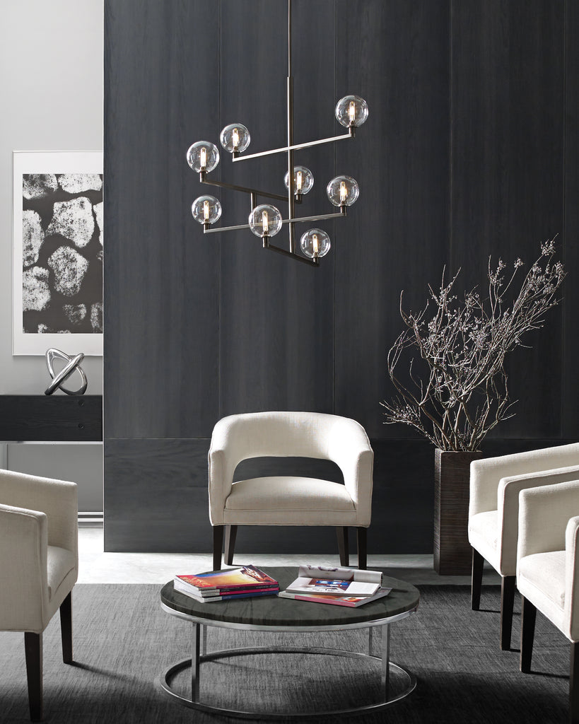 Gambit Chandelier in Satin Nickel Finish hanging in living space