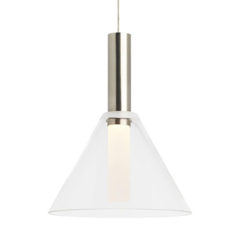 Mezz pendant satin nickel finish with clear glass from tech lighting
