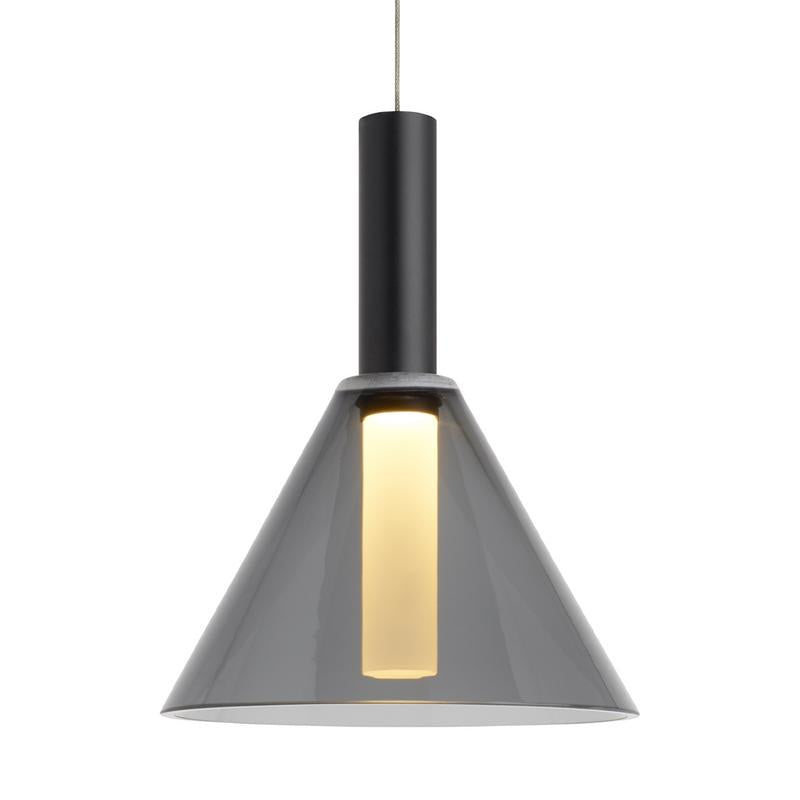 Mezz pendant in black finish with smoke glass from tech lighting