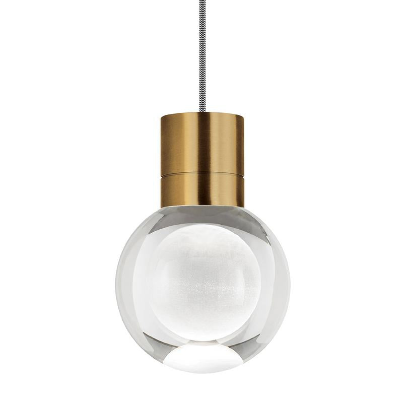 mina pendant, aged brass, black and white cord, tech lighting
