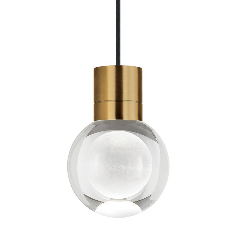 mina pendant in aged brass with black cord from tech lighting