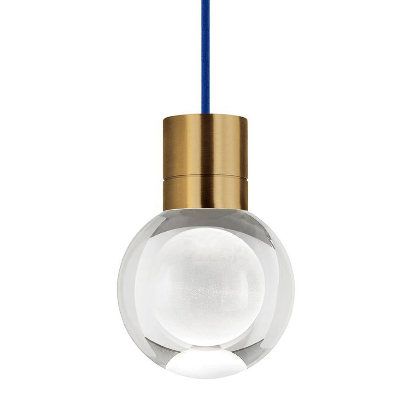 mina pendant, aged brass finish, blue cord, tech lighting