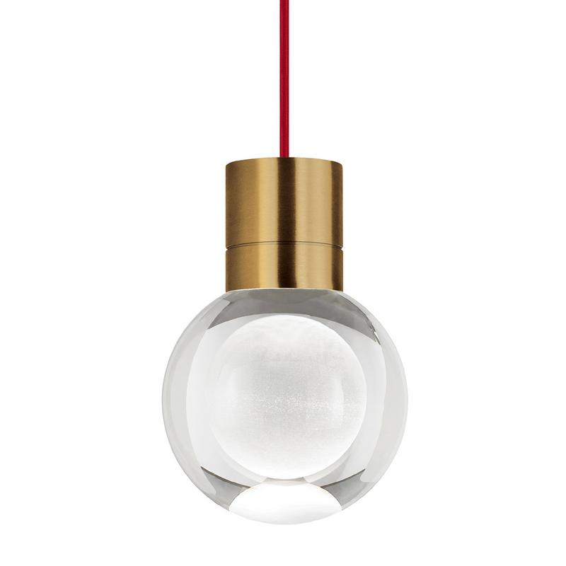 mina pendant, aged brass, red cord, tech lighting