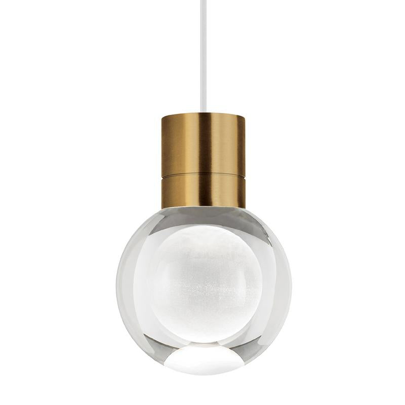 mina pendant, aged brass, white cord, tech lighting
