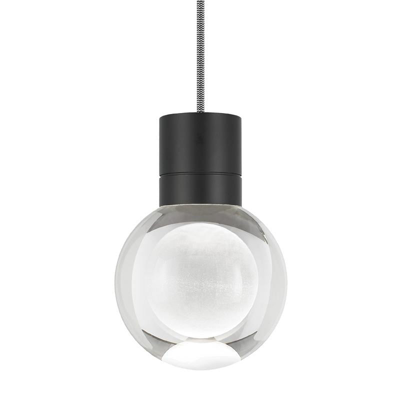Mina pendant from tech lighting in black finish with white and black wire