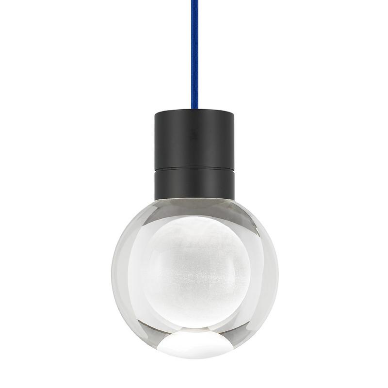Mina pendant from tech lighting with blue cord and black finish