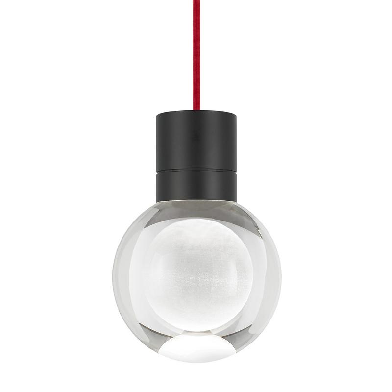 mina pendant with red cord and black finish from tech lighting