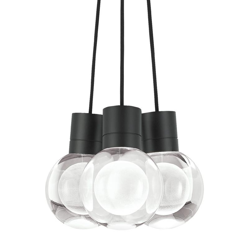 Mina 3 light chandelier, black with black cord, tech lighting