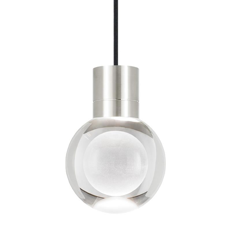 mina pendant, satin nickel, black cord, tech lighting