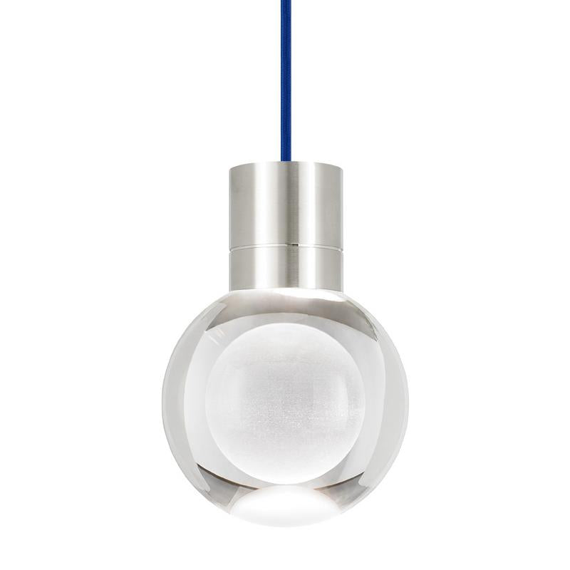 mina pendant, satin nickel, blue cord, tech lighting