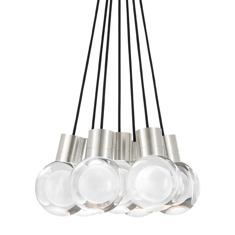 mina 7 light chandelier, satin nickel finish, black cord, tech lighting