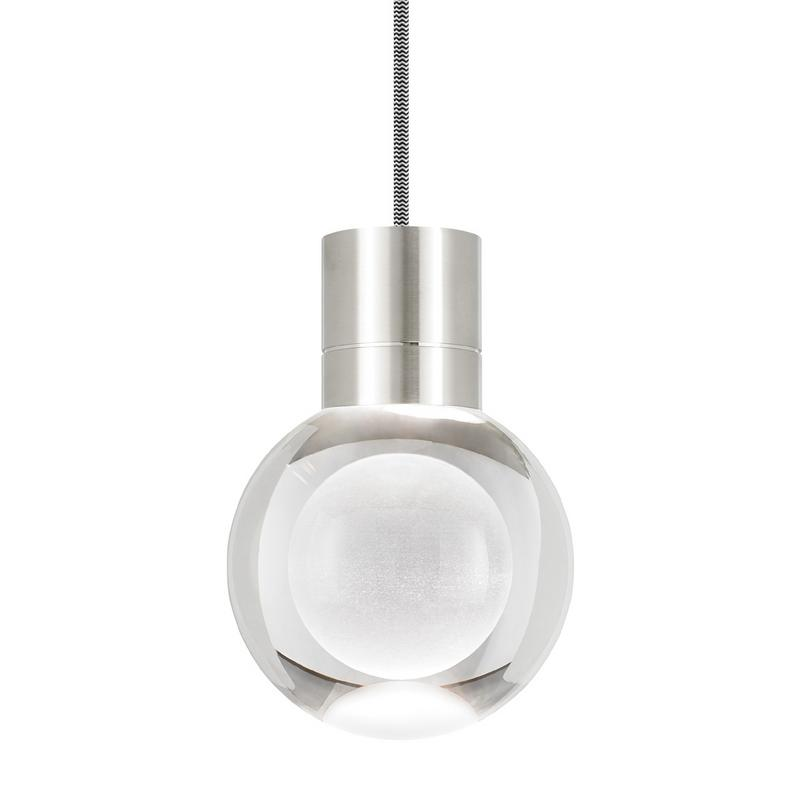mina pendant with black and white cord in satin nickel finish, tech lighting