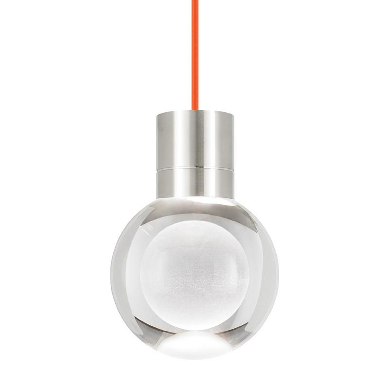 mina led pendant with orange cord in satin nickel from tech lighting