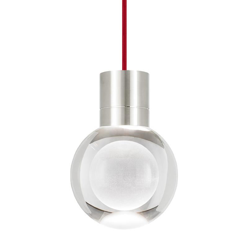 mina LED pendant in satin nickel with red cord from tech lighting