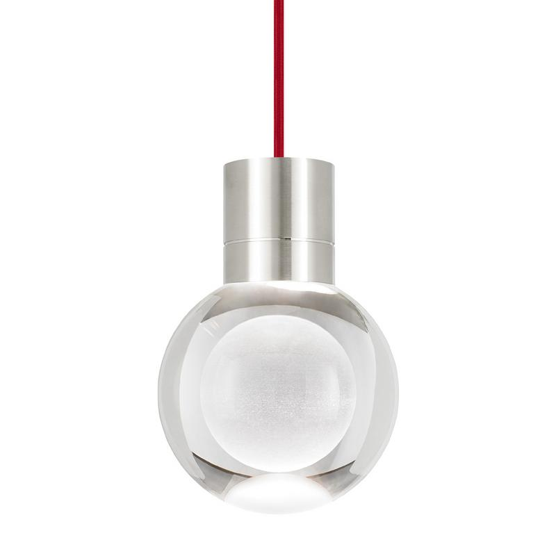 mina pendant, red cord, satin nickel, tech lighting
