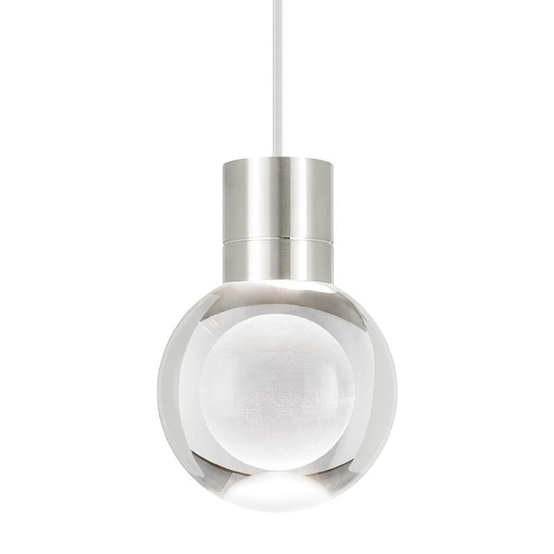 mina LED pendant in satin nickel with grey cord, tech lighting