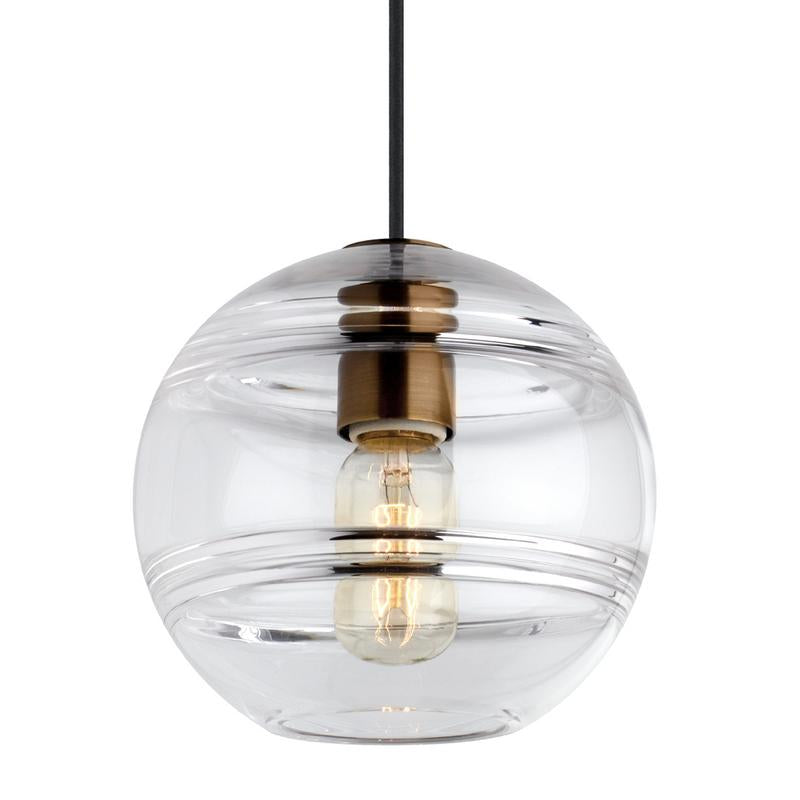 sedona grande pendant in clear glass and aged brass finish, tech lighting