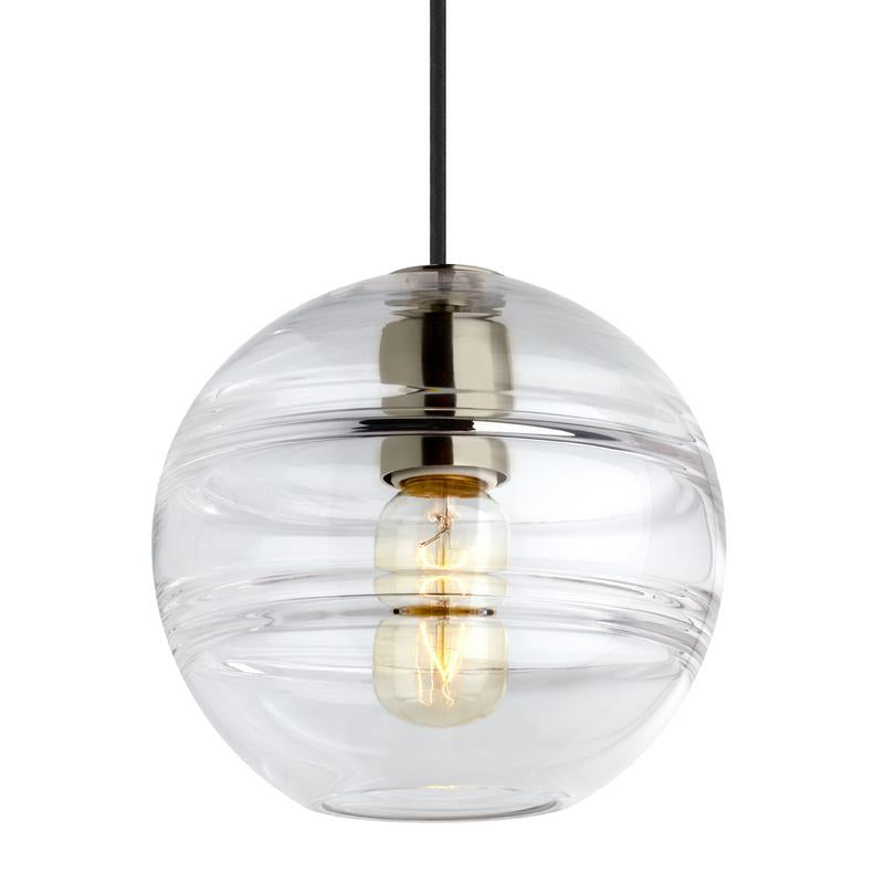 sedona grande pendant in satin nickel finish and clear glass, tech lighting