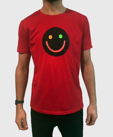 Smiley T-Shirt (Red - fluro smiley)