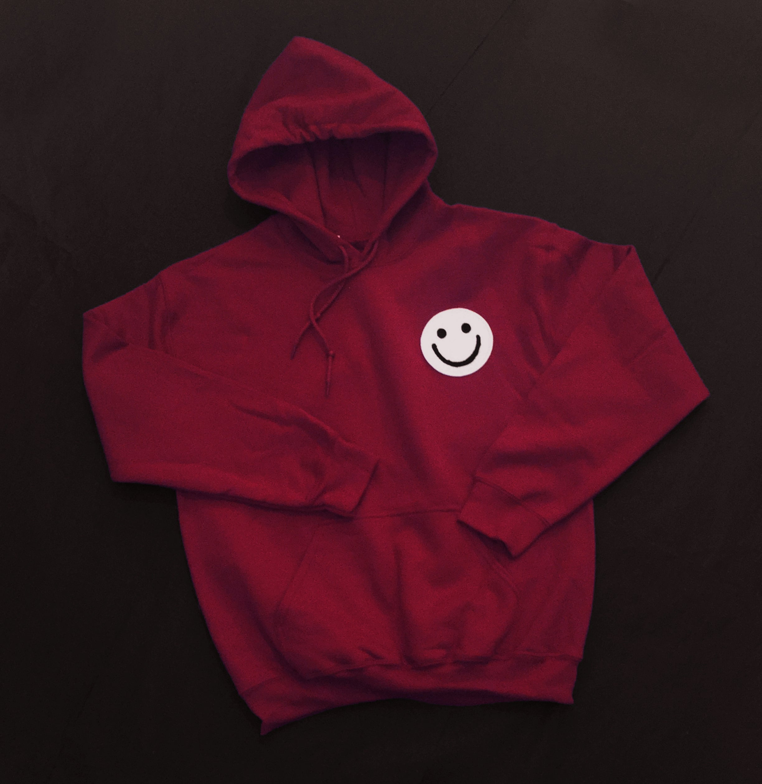 Dark Red Smiley Hoody