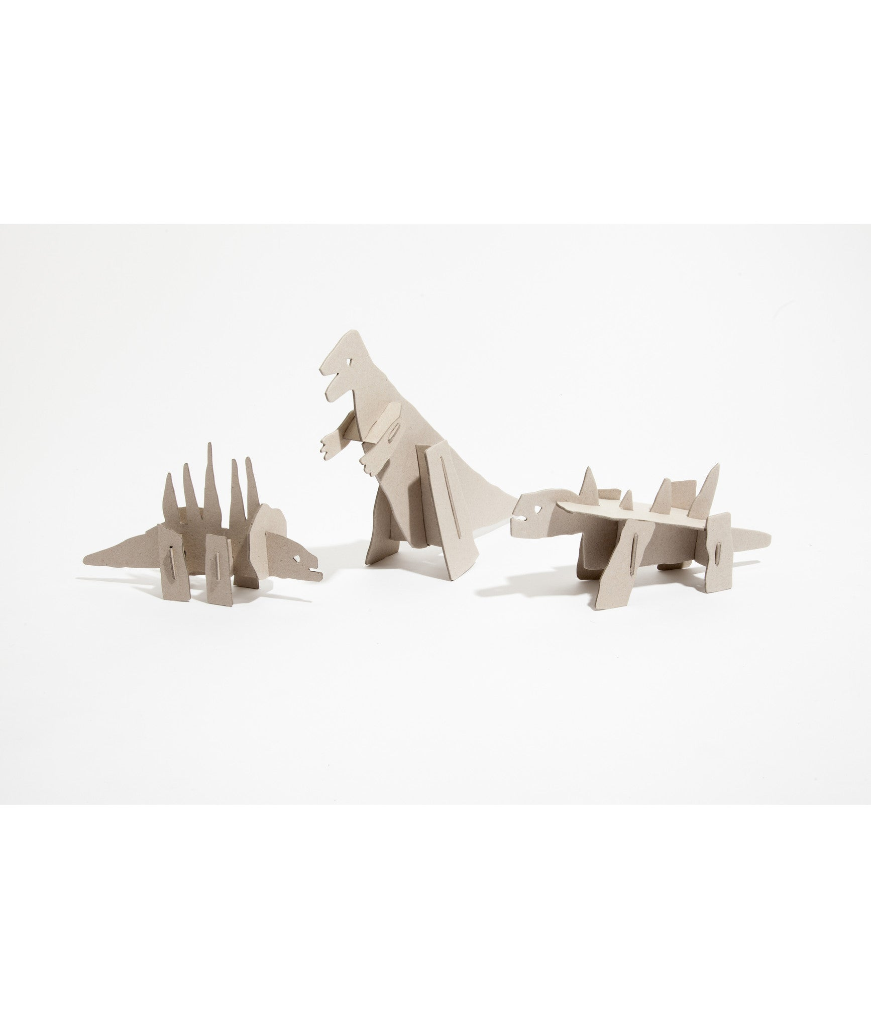 Set of Three Cardboard Dinosaurs ; The Good, The Bad, The Ugly