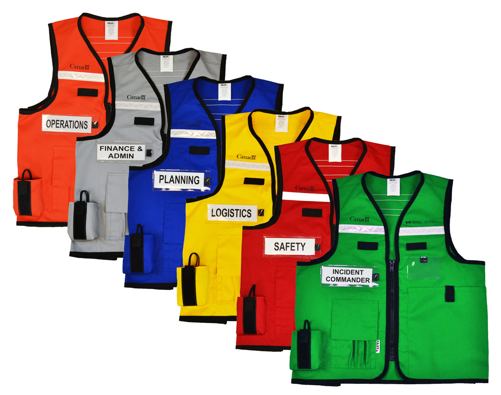 EOC IMS ICS Incident Command Vest | Colour Coded |Emergency Management | Front