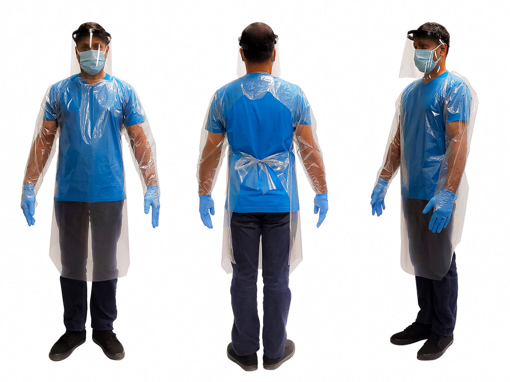 Man wearing a FAST Disposable Isolation Gown2000 Level 3. Canada made.