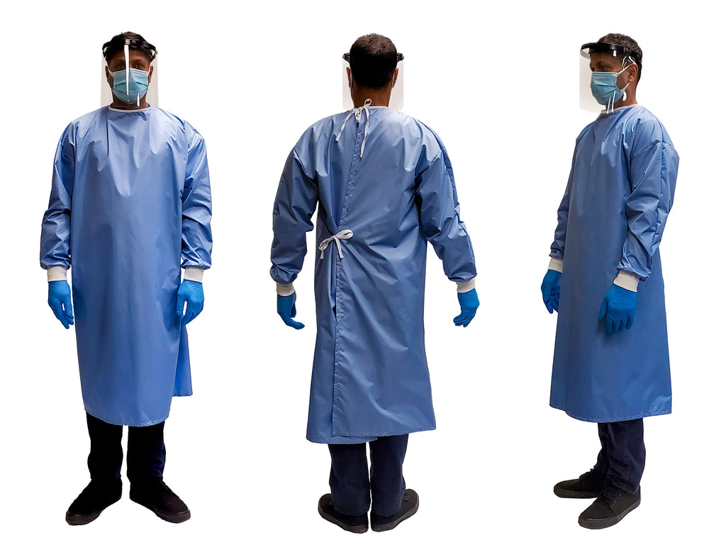 Man wearing a FAST Reusable Isolation Gown4000 level 2 Canada made