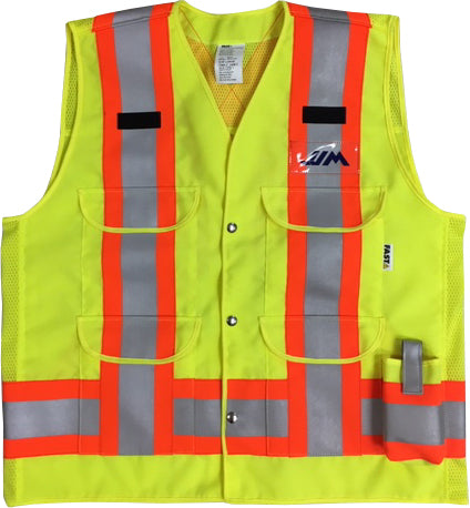 VEST1270 - Surveyor Style Traffic Vest w/mesh back yoke & side panels, CSA Z96-15 Class 2 Level 2, WorkSafeBC Type 1 (Fluorescent Orange or Lime Yellow)