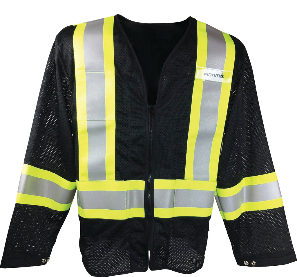 OVER2036 - Black Mesh Jacket with front pockets & zipper closure, CSA Z96-15 Class 1 Level 2, WorkSafeBC Type 3 Affixed