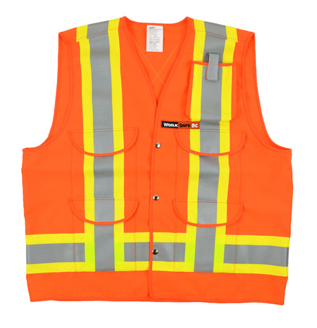 VEST1270.2 - Surveyor Style Traffic Vest w/pockets, Z96-15 Class 2 Level 2, WorkSafeBC Type 1 (Fluorescent Orange or Lime Yellow)