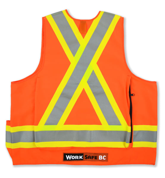 VEST6050.3 - Deluxe Surveyor Safety Vest, CSA Z96-15 Class 2 Level 2, WorkSafeBC Type 1 (Fluorescent Orange or Lime Yellow)