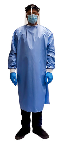 Man wearing a Fast Reusable Isolation Gown4000 Level 2 made with anti-static blue polyester material. Canadian Made. Front view.