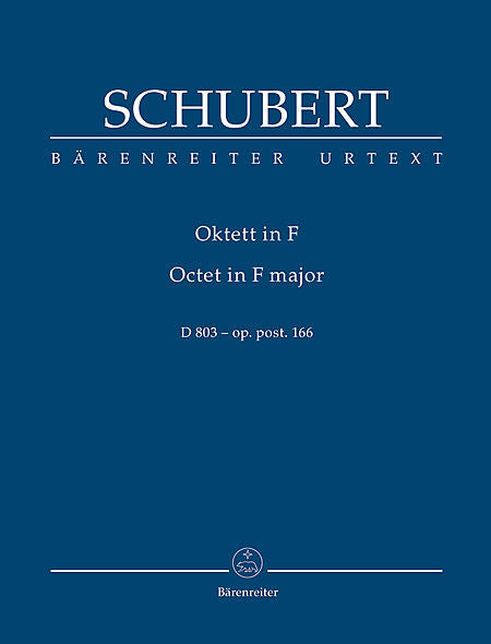Schubert, Franz % Octet in F Major D803 Op 166 (Study Score)-CL/BSN/HN/STG4/KB