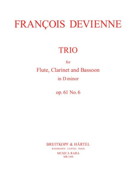 Devienne, François % Trio in d minor Op 61 #6 (Parts Only)-FL/CL/BSN