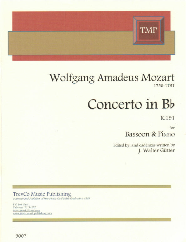 Mozart, Wolfgang Amadeus % Concerto in Bb Major K191(Guetter)-BSN/PN