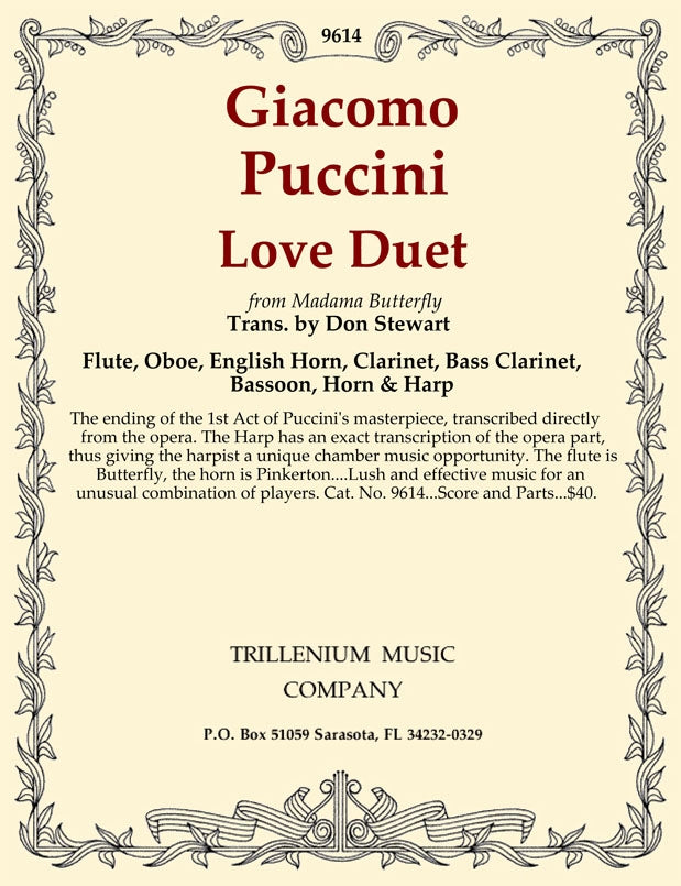 "Puccini, Giacomo % Love Duet from ""Madame Butterfly"" (Score & Parts)-WW5+EH/BCL/HARP"