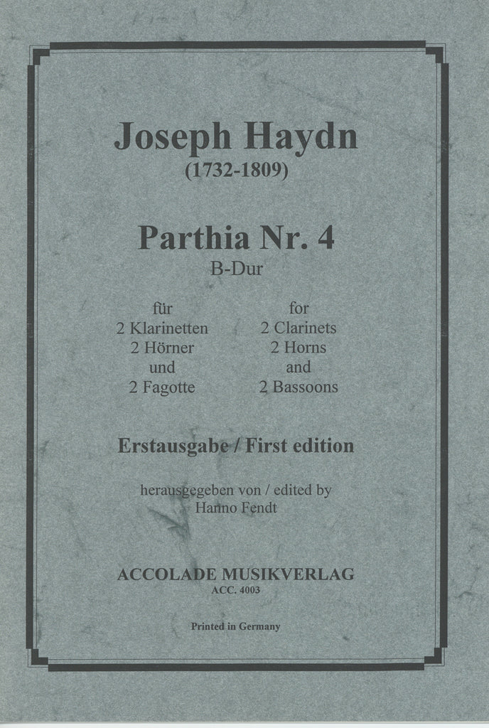 Haydn, Franz Joseph % Parthia #4 in Bb Major (Score & Parts)-2CL/2HN/2BSN