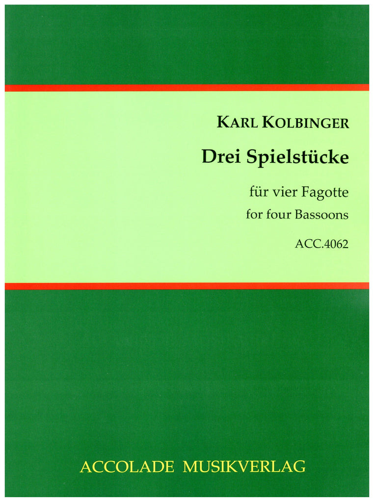 Kolbinger, Karl % Three Pieces for Four Bassoons (Score & Parts)-4BSN