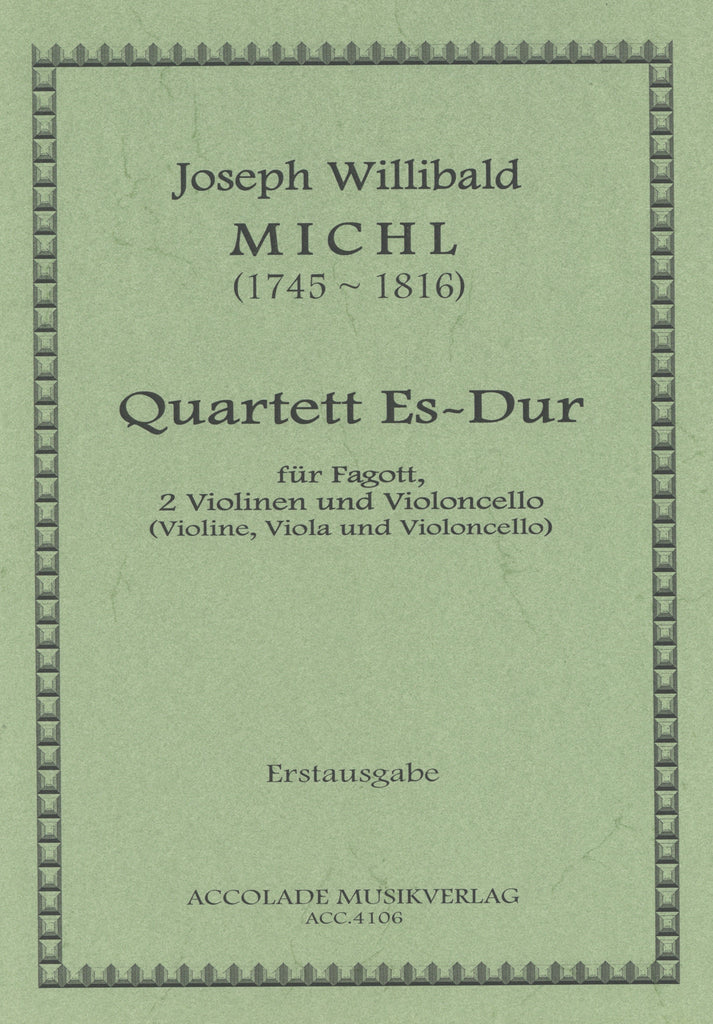 Michl, Joseph Willibald % Quartet in Eb Major (Score & Parts)-BSN/VLN/VLA/CEL or BSN/2VLN/CEL