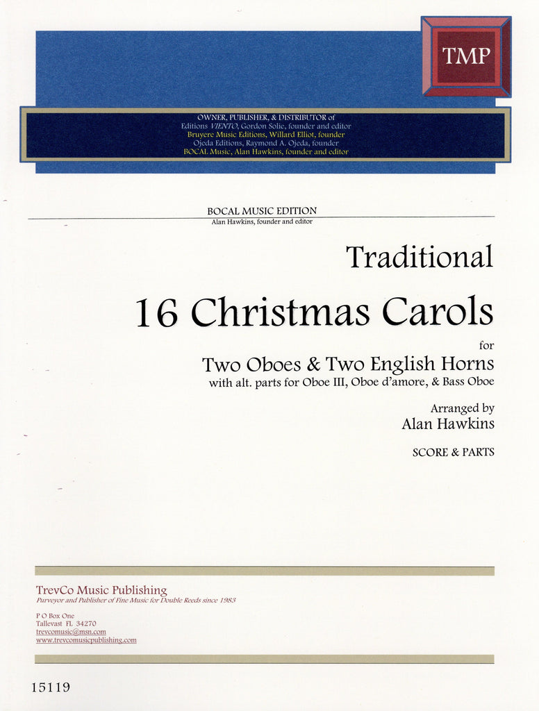 Trad % 16 Christmas Carols (Score & Parts)-2OB/2EH