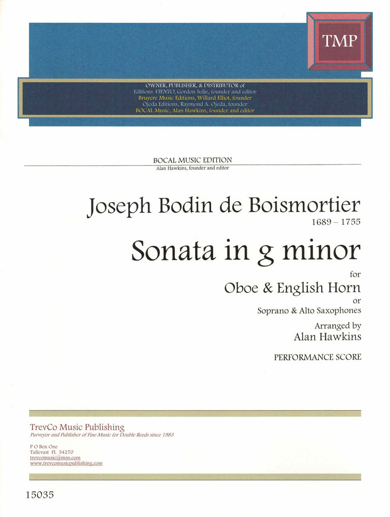 Boismortier, Joseph Bodin de % Sonata in g minor (Performance Score)-OB/EH