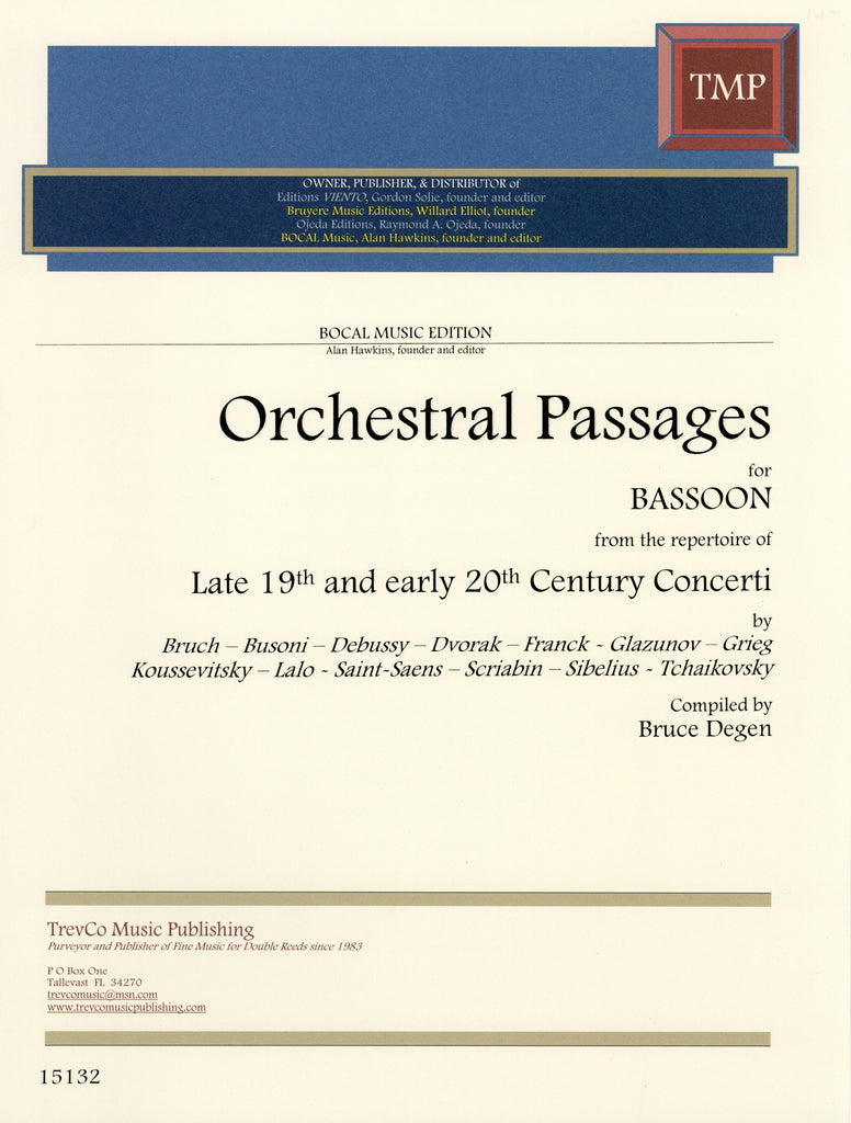 Degen, Bruce % Orchestral Passages for Bassoon from Late 19th & Early 20th Century Concertos-BSN