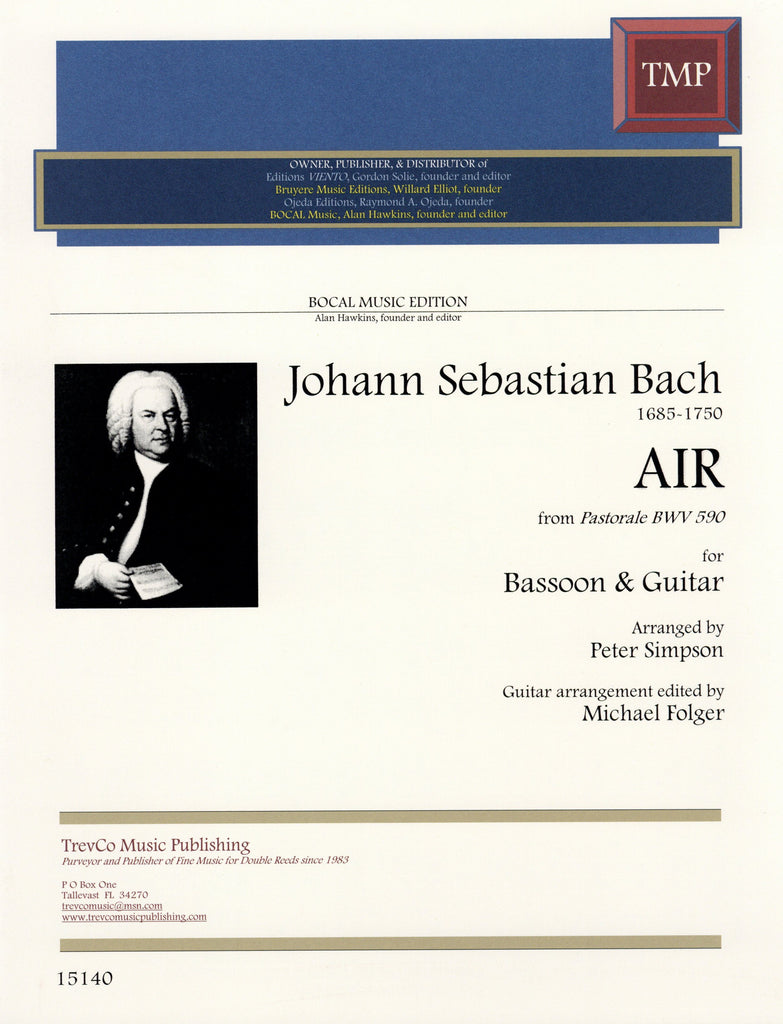 Bach, J.S. % Air from Pastorale BWV590 (Parts Only)-BSN/GUITAR