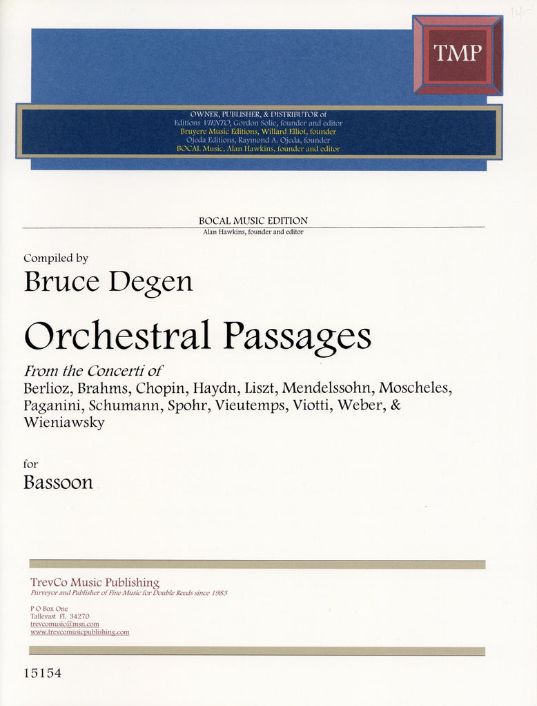 Degen, Bruce % Orchestral Passages for Bassoon from the Concertos-BSN