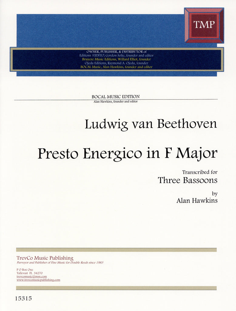Beethoven, Ludwig van % Presto Energico in F Major (Score & Parts)-3BSN