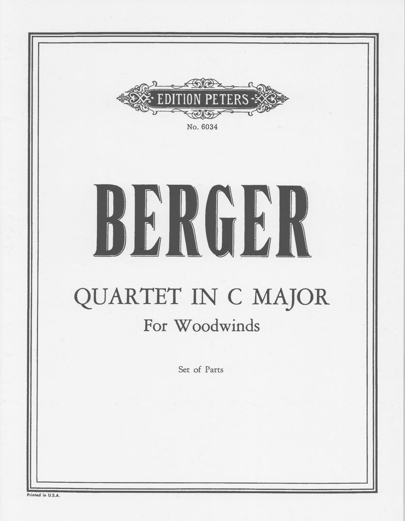 Berger, Arthur % Quartet in C Major (Parts Only)-FL/OB/CL/BSN